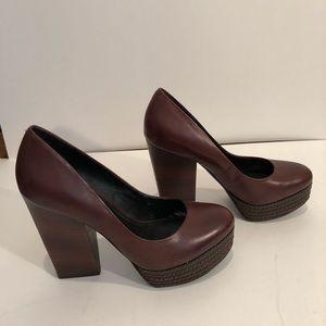 Trouve Brown leather pumps.